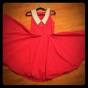 Vintage red dress with swing dancing skirt